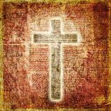 Glowing holy cross on paper background Stock Photo