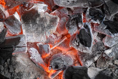 Glowing hot coals Stock Photo