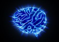 Glowing Human Brain on Black Background stock illustration