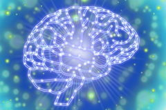 Glowing human brain Concept  in blue background Stock Photos