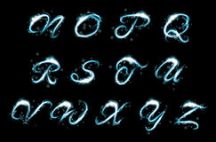 Glowing ice blue light effect glitter text uppercase N-Z. Transparent sparkle Alphabet Vector. Glowing ice blue light effect glitter text. Letters of the royalty free illustration