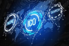Glowing ICO backdrop. Creative glowing ICO backdrop. Cryptocurrency and finance concept. 3D Rendering Royalty Free Stock Images
