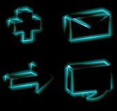 Glowing icon set Royalty Free Stock Photos