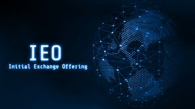 Glowing Initial Exchange Offering IEO text on 3D Rendering blue dotted world and abstract wired global network background. stock photo