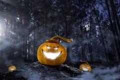 Glowing jack lantern. Mixed media Stock Image