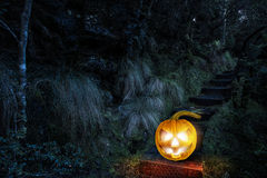 Glowing jack lantern. Mixed media Stock Images