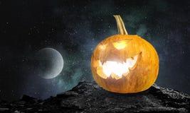 Glowing jack lantern. Mixed media Royalty Free Stock Photography