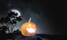 Glowing jack lantern. Mixed media . Mixed media Royalty Free Stock Image