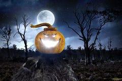 Glowing jack lantern. Mixed media . Mixed media Royalty Free Stock Photography