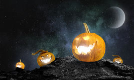 Glowing jack lantern. Mixed media . Mixed media Stock Photography