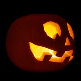 Glowing Jack-o'-lantern pumpkin isolated Royalty Free Stock Photo