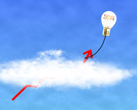 Glowing lamp balloon with 2014 inside hanging growth red arrow f. Lying through cloud in the sky Royalty Free Stock Photo