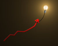 Glowing lamp balloon with money symbol inside hanging growth red. Arrow flying in dark space Stock Photography
