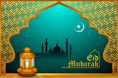 Glowing lamp on Eid Mubarak background Stock Photos