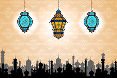 Glowing lamp on Eid ul Adha background Stock Photo