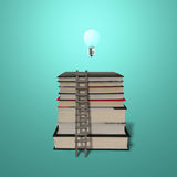 Glowing lamp on top of stack books with wooden ladde Stock Photos