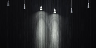 Glowing lamp on the wall background decorated with ebony. 3d illustration Stock Images
