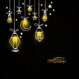 Glowing lantern, moon and stars for Ramadan Kareem. Stock Photo