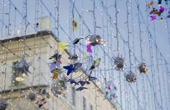 Garlands and decorations on the street in Moscow stock photos