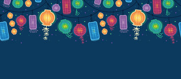 Glowing lanterns horizontal seamless pattern stock illustration