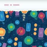 Glowing lanterns horizontal torn seamless pattern background Royalty Free Stock Photo