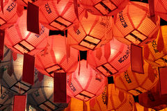 Glowing lanterns in night on Buddha's birthday stock photography