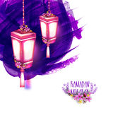 Glowing lanterns for Ramadan Kareem. Royalty Free Stock Photography