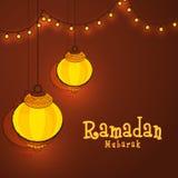 Glowing lanterns for Ramadan Mubarak celebration. Stock Images
