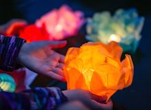 The glowing lanterns on the wat royalty free stock photography