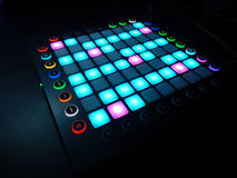 Glowing Launchpad on black background Stock Photography