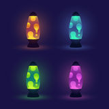 Glowing Lava Lamps Set Royalty Free Stock Image