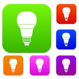 Glowing LED bulb set collection Stock Photos