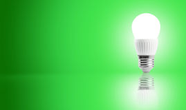 Glowing LED energy saving bulb. Royalty Free Stock Image