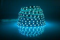 Glowing LED garland, strip. Light background Stock Photo