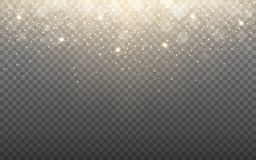 Free Glowing Light And Snow Flakes On Transparent Background. Shining Particles And Bokeh. Gold Glitter Effect With Rays Royalty Free Stock Photo - 165588555