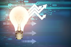 Technology, idea and solution concept. Glowing light bulb on abstract background with circuit and upward arrows. Technology, idea and solution concept. 3D Royalty Free Stock Photography