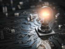 Glowing light bulb as CPU on motherboard circuit board. Idea cre Royalty Free Stock Photo