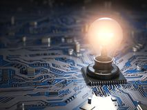 Glowing light bulb as CPU on motherboard circuit board. Idea cre Stock Photos
