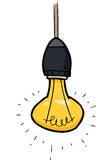 Glowing light bulb. Cartoon doodle glowing light bulb illustration Royalty Free Stock Images