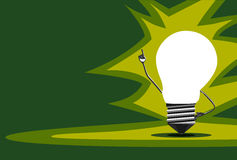 Glowing light bulb character, insight Stock Images