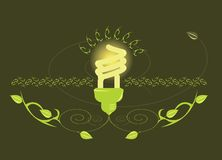 Glowing light bulb design. On brown background royalty free illustration