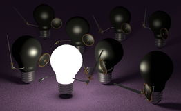 Glowing light bulb fighting against many black ones on violet Royalty Free Stock Photography