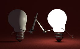 Glowing light bulb fighting against switched off one on red. Glowing light bulb fighting duel against switched off one with swords on dark red textured Stock Images