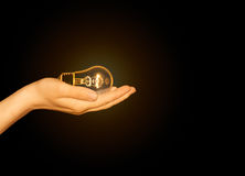Glowing light bulb in hand, bulb in hand Stock Photo