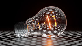 Glowing light bulb. Glowing incandescent light bulb lies on the perforated metal floor vector illustration