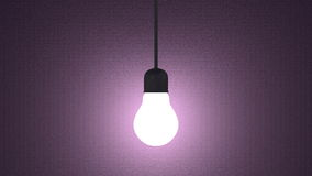 Glowing light bulb in lamp socket hanging on violet Royalty Free Stock Images