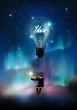 Glowing light bulb is among a lot of stars on aurora blue sky, business man on rope swing reach star, creative business concept royalty free illustration