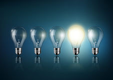 Glowing light bulb is among a lot of turned off light bulbs on dark blue background , concept idea , Transparent Vector. Eps10 vector illustration