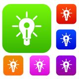 Glowing light bulb set color collection. Glowing light bulb set icon color in flat style isolated on white. Collection sings vector illustration Royalty Free Stock Image