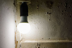 Glowing light bulb in the socket. Stock Images